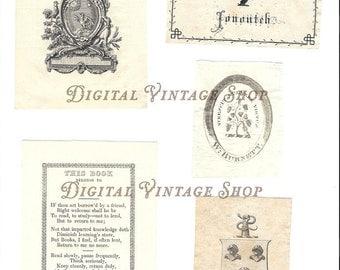Vintage Book Plates Labels Collage Digital Download