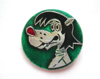 Badge Wolf Vintage Metal Collectible Badge Cartoon Animal Soviet Vintage Pin Made in USSR, 1980s
