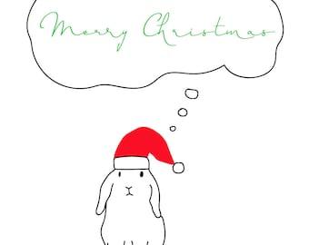 Christmas Bunny Thought Bubble