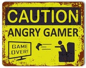 Caution Angry Gamer  Metal Sign  Door Sign  Vintage Effect  Gaming Decor