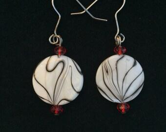 White zebra earrings