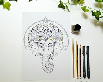 Ganesha / Ganesh Dotwork Drawing with Gold Detail