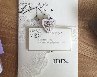 Handmade Shabby Chic Vintage Wedding Invitations