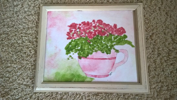 Original Hand Painted Watercolor Teacup Framed 8x10