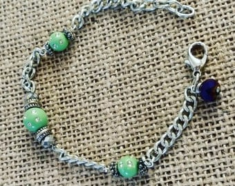 Silver Bracelet with Lime Green Beads
