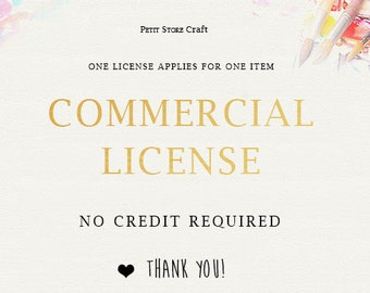 Commercial license - For a single product. No credit required. Should be purchased with the artwork itself