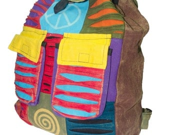 Razor-cut Colorful  Hippie Backpack