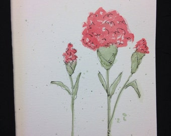 Red Carnations Watercolour Print Card - BLANK INSIDE
