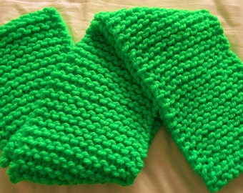 Super chunky neon green knitted scarf