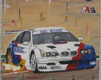 Acrylic image BMW M3 GT3, on canvas, abstract paintings, unique, directly from the artist.