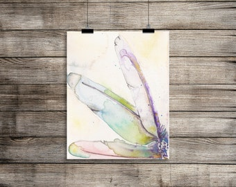 Digital Download Watercolor Feather Print Instant Download 8x10 print