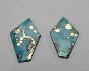 Kingman Turquoise with pyrite (2pcs)