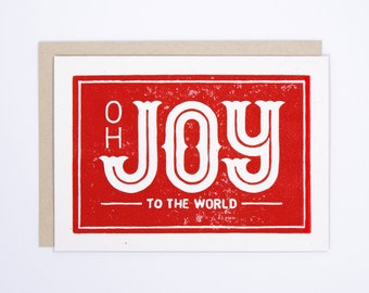 Set of 6 Joy to the World | Christmas Card | Block Printed Card | Handmade Greeting Card | Hand Lettering | Linocut