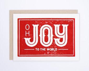 Joy to the World | Christmas Card | Block Printed Card | Handmade Greeting Card | Hand Lettering | Linocut