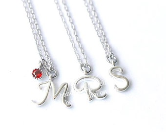 Sterling Silver Necklace, Initial Necklace, Script Initial Necklace, Initial with Birthstone Necklace, Personalized, Gift for Her