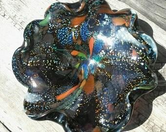 Murano Venetian Glass Deep Amethyst Tuti Fruiti Bowl 1950's