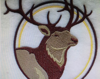 """Embroidered Majestic """"Elk Head"""" T-Shirt"""