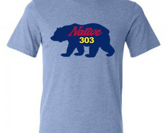 Light Blue Tri-blend Native 303 Bear T