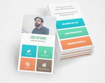 Free Customize, Business Card for Software Develope, Calling Card for Programmer, Green, Blue, Orange, Brown, Corporate Business Card