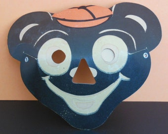 Luminous Masklite Black Bear with Orange Hat Halloween Mask, 1950's Glow In The Dark Mask, Vintage Halloween Mask, Unused Cardboard Mask