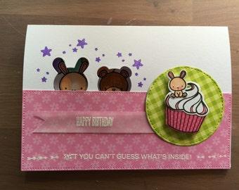 Cute birthday card Bunny & Bear