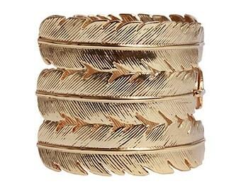 CC Skye 2 Inch Wide Triple Feather Cuff Bracelet 18k Gold Vermeil in Gold or Rose Gold