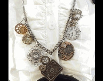 """Ready to ship STEAMPUNK NECKLACE with Charms.  36"""" long CHAIN for costume cosplay Halloween."""