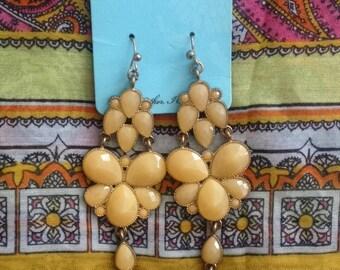 Orange Chandelier Flower Earrings