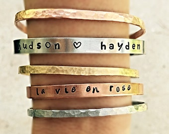 La vie en Rose- Handstamp bangle- handstamped bracelet- stacking bangle- Inspirational bangle