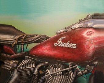 """16"""" x 20"""" print on stretched canvas, this is a reprint of my original acrylic painting, Patina Indian"""