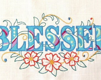 EMBROIDERED QUILT BLOCK or panel, 100% cotton (Blessed)