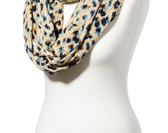 Gold and blue infinity scarf