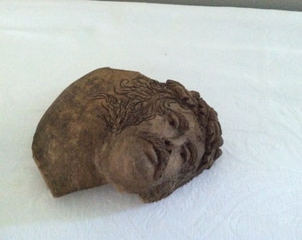 Vintage mid century architectural clay face, antique, art, modern