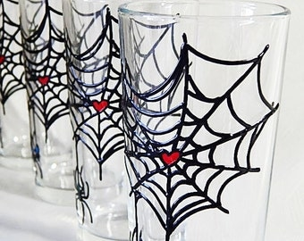 Spider Glasses Hand Painted Glasses Water Glasses Colorful Glasses Spider Drinking Glasses Set of4 Halloween glasses