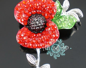 Sparkling Red Poppy Brooch in Silver tone, Pin