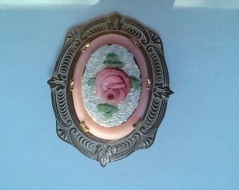 Pink enamel rose brooch