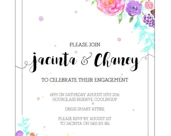 Floral Invitations 2 // Wedding // Engagement // Birthday // Special Occasion