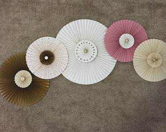 Paper fans, paper fan backdrop, fan decor, paper rosettes, party decor