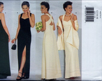 Sewing Pattern Butterick 6463 Womens Lined Evening Dress Prom Gown with Stole Side Slit Sz. 12-14-16 Uncut