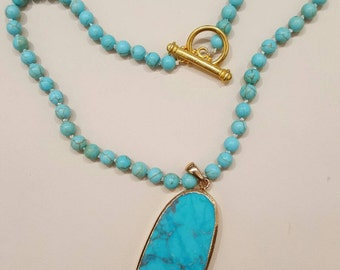 Natural Turquoise Howlite Necklace 18in. Handstrung & knotted