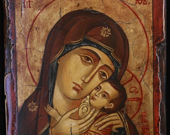 Hand Painted  Byzantine Icon  Tempera on OLD WOOD, Mary, mother of Jesus