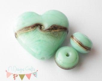 Lampwork beads, ocean heart, silver, beads