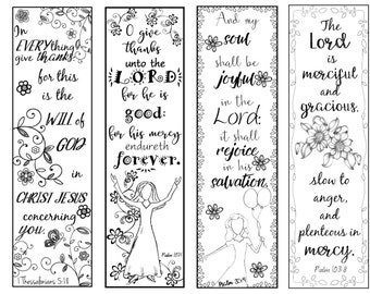 Bible Verse Bookmarks on Thankfulness B/W Color Your Own Print and Cut