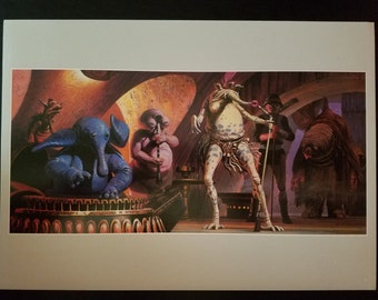 Vintage 1982 Star Wars Return of the Jedi Sy Snootles and the Max Rebo Band by Ralph McQuarrie 11 x 14 Production Art Print
