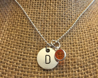 """26"""" Birthstone Necklace, Stamped Initial Necklace, Customized Necklace, Gemstone Necklace"""