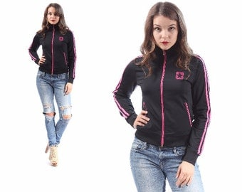 Black CONVERSE Track Jacket 1990s Turtleneck Zip Up Black Pink 2 Stripe Hip Hop Sport Normcore Slim Fit Small Medium