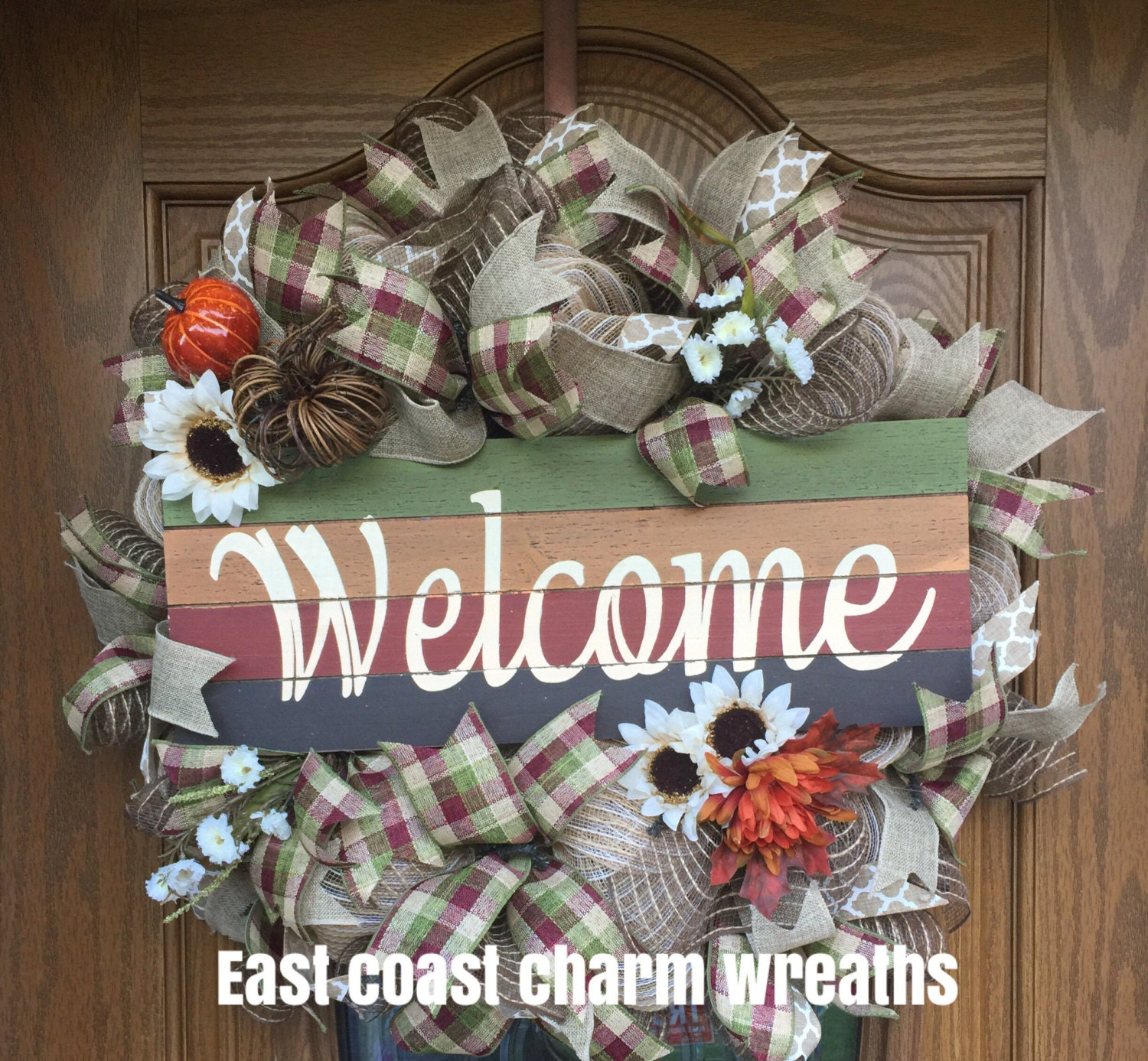 On sale harvest welcome thanksgiving fall wreath and home