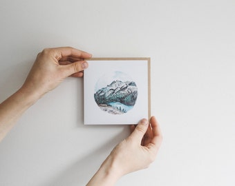 Mountain, Lake & Pines - blank watercolour greeting card - recycled, 125mm square - with kraft envelope