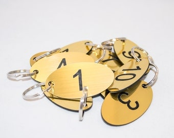 Set of 20 oval shaped numbered key tags ideal for clubs, leisure centres, school