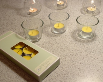 Lemon Scented Soy Wax Tealights, Box of 10